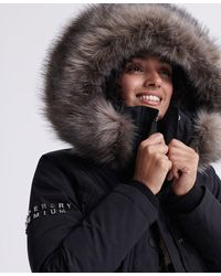 Superdry Premium Down Classics Alps Parka Coat - Black