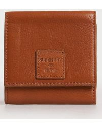 Superdry Leather Short Fold Purse - Brown