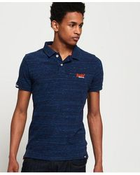 Superdry Orange Label Jersey Polo Shirt - Blue