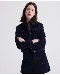 Superdry Cord Girlfriend Jacket - Blue