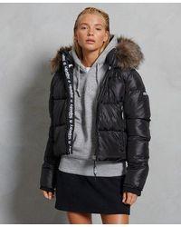 Superdry Sport Puffer Borg Crop Jacket - Black
