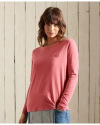 Superdry Organic Cotton Classic Long Sleeved Top - Pink