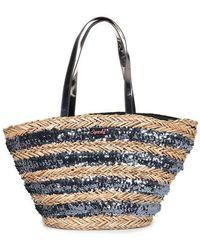 Superdry Anya Sequin Straw Tote Bag - Grey