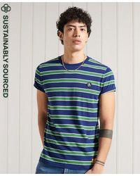 Superdry Camiseta de algodón orgánico a rayas con aplique Collegiate - Azul