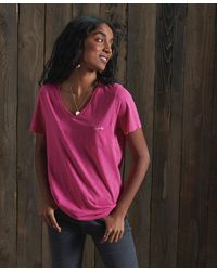 Superdry T-shirt à col en V Essential en coton biologique - Rose