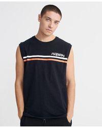 Superdry Camiseta deportiva a rayas con logo Core - Negro