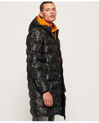 Superdry Echo Quilt Longline Puffer Coat - Black