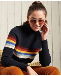 Superdry Whitaker Stripe Crew Sweater - Blue