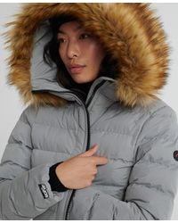 Superdry Arctic Long Puffer Coat - Gray