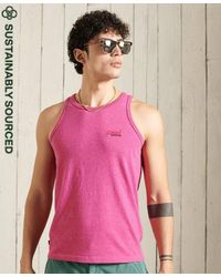 Superdry Camiseta de tirantes clásica en algodón orgánico - Rosa