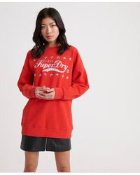 Superdry Boutique Real Classics Crew Sweatshirt - Red