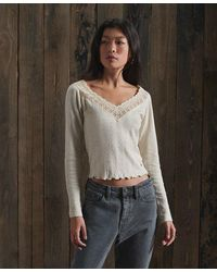 Superdry Lace Pointelle Long Sleeve Top - Multicolour