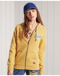 Superdry Sudadera bicolor de rizo con capucha y Vintage Logo - Amarillo
