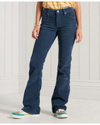 Superdry Mid Rise Slim Cord Flare Jeans - Blue