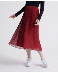 Superdry Pleated Midi Skirt - Red