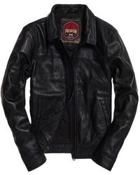 Superdry Curtis Leather Jacket - Black