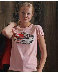 Superdry T-shirt soleil levant Vintage Logo - Rose