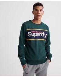 Superdry Core Logo Stripe Crew Sweatshirt - Green