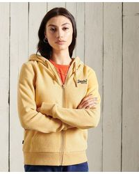 Superdry Sudadera clásica con capucha y cremallera de la colección Orange - Amarillo