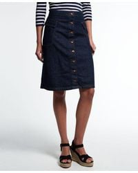 Superdry Falda Button Down Midi - Azul
