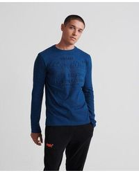 Superdry Shirt Shop Embossed Long Sleeve T-shirt - Blue