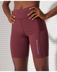 Superdry Sport Training Mesh Tight Shorts - Red