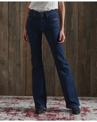 Superdry Mid Rise Slim Flare Jeans - Blue