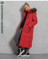 Superdry Lange Everest Jas Met Imitatiebont - Rood
