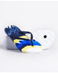 Superdry Super Sleek All Over Print Flip Flops - Blue
