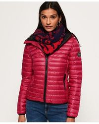 Superdry Core Down Hooded Jacket - Pink
