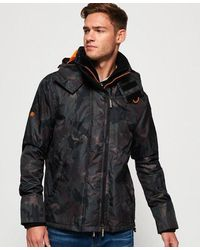 Superdry Arctic Hooded Print Pop Zip Sd-windcheater Jacket - Brown