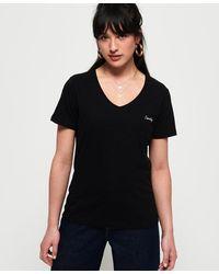 Superdry Camiseta con cuello de pico Essential Orange Label - Negro