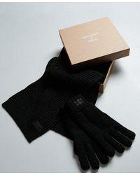 Superdry Conjunto para regalo de bufanda y guantes Stockholm - Verde