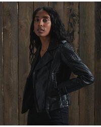 Superdry Backstage Leather Biker Jacket - Black