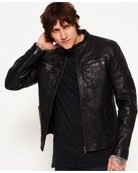 Superdry Classic Real Hero Biker Leather Jacket - Black