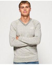 Superdry Orange Label Cotton Vee Neck Sweater - Grey