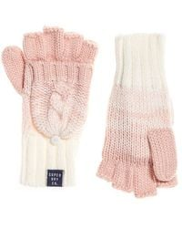 Superdry Clarrie Cable Mittens - Pink