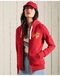 Superdry Sudadera con capucha y cremallera Collegiate - Rojo