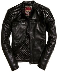 Superdry Hero Leather Racer Jacket - Black