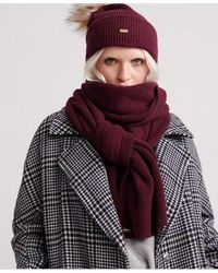 Superdry Heritage Ribbed Scarf - Red