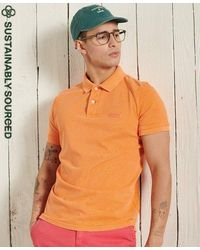 Superdry Polo de algodón orgánico Vintage Destroyed - Naranja