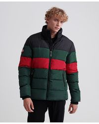 Superdry Color Stripe Sports Puffer Jacket - Green