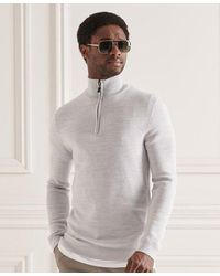 Superdry Merino Henley Sweater - Brown