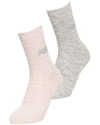 Superdry Pack de dos pares de calcetines con brillo - Gris
