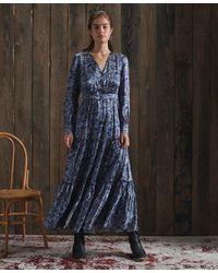 Superdry Dry Printed Silk Dress - Blue