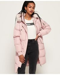 Superdry Luxe Longline Puffer Jacket - Pink