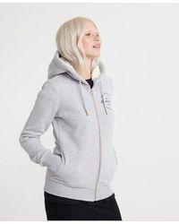 Superdry Applique Zip Hoodie - Grey