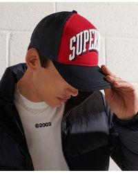Superdry Gorra con paneles de malla y logo tricolor Sport - Rojo