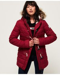 Superdry Tall Marl Toggle Puffle Jacket - Red