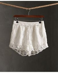 Superdry Morgan Lace Shorts - White